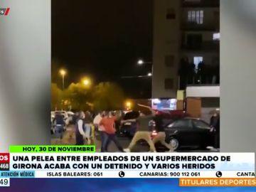 Pelea con palos entre trabajadores de un supermercado de Girona por ver quién era el responsable del establecimiento