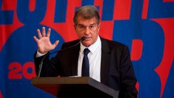 l expresidente del FC Barcelona Joan Laporta durante la presentación de su candidatura a la presidencia del club