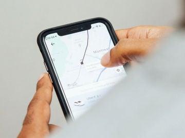 Servicio de Uber en un smartphone.