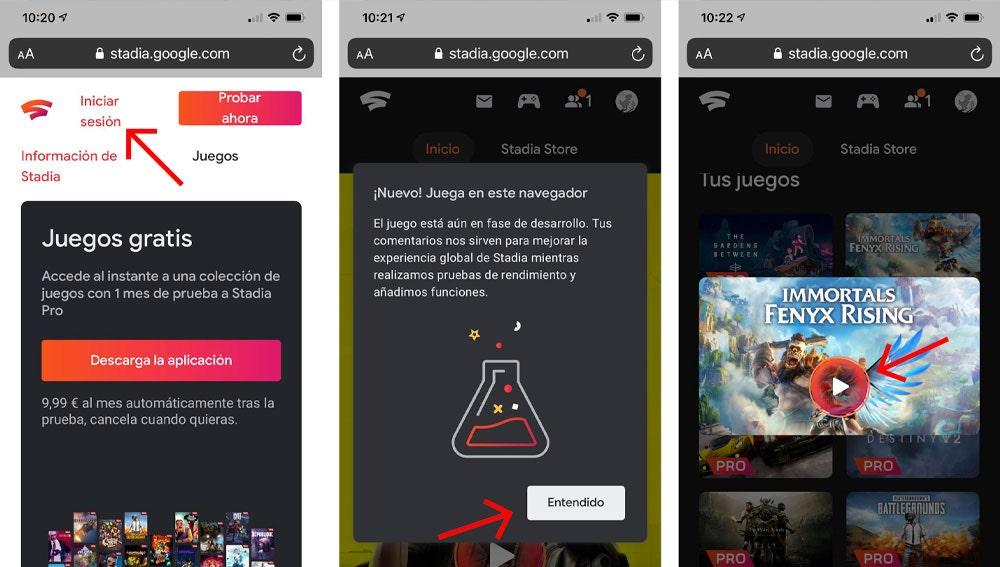 El juego en streaming de Stadia ya es compatible con iPhone y iPad.