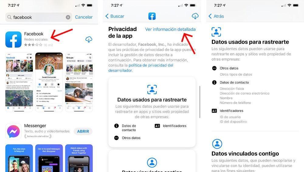 Nueva información de privacidad de la App Store.