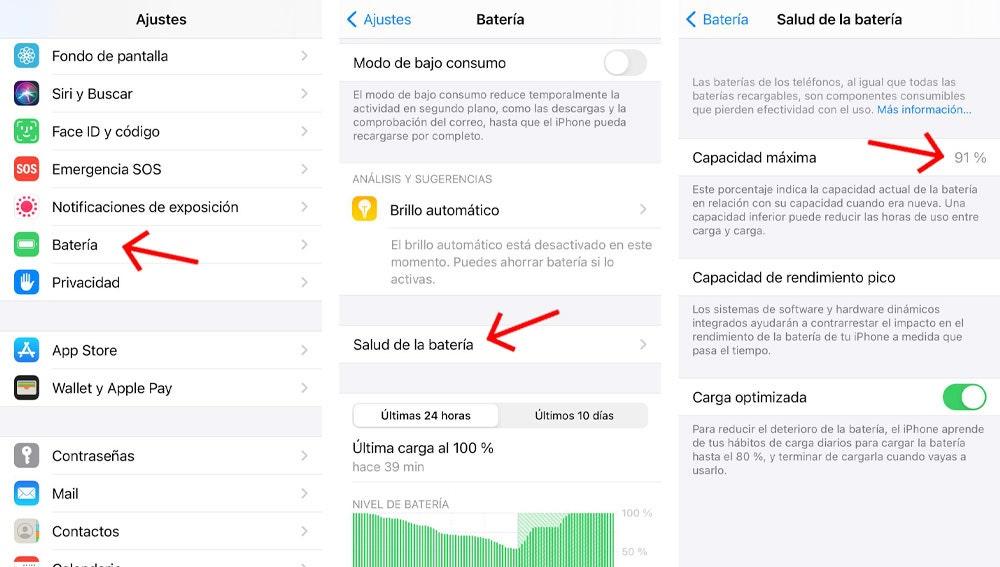 Opciones de carga de batería en iPhone con iOS 14.