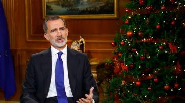 El rey Felipe VI, durante el discurso de Navidad de 2020