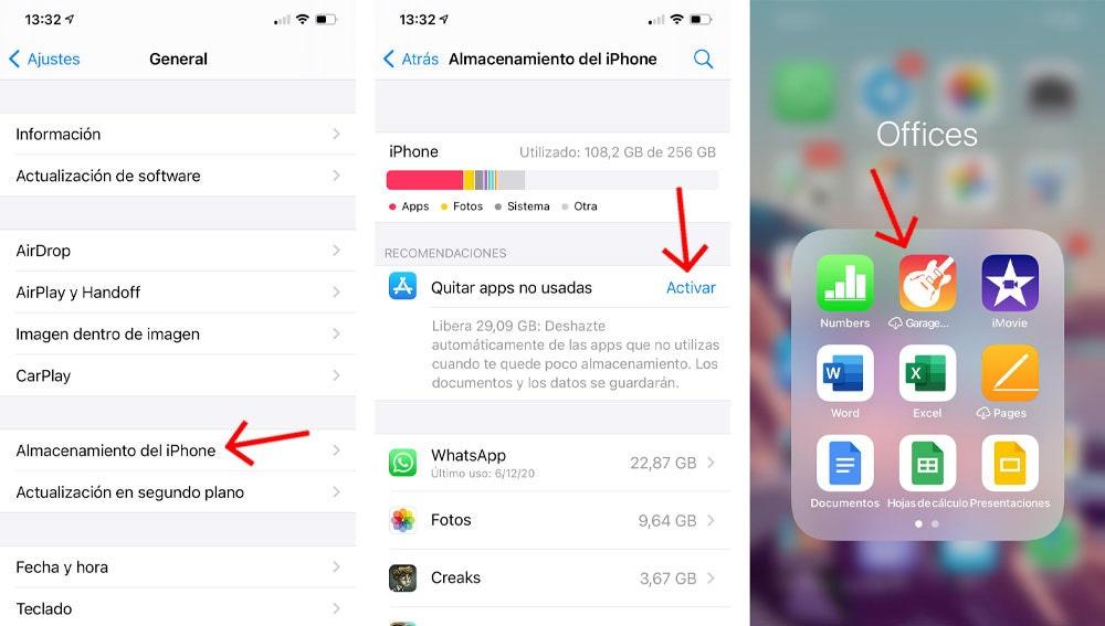 Quitar apps no utilizadas en el iPhone.