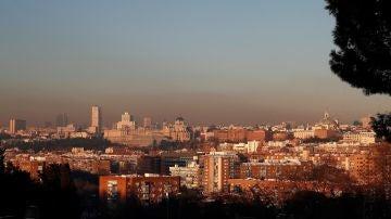 Vista de la boina de contaminación en Madrid
