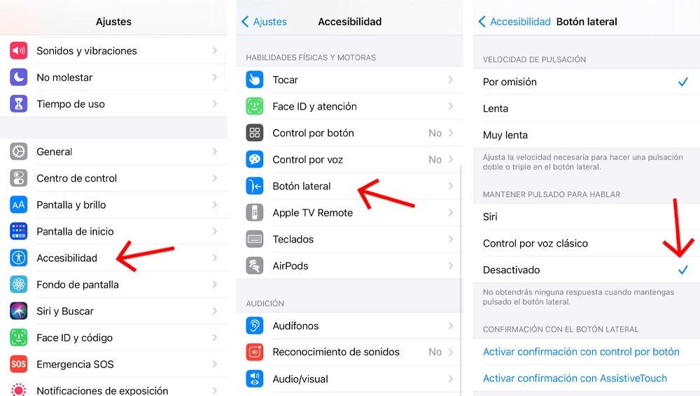 Cómo desactivar Siri del botón lateral del iPhone.