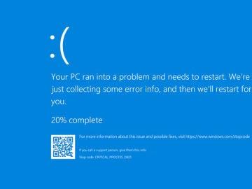 Pantallazo azul de error en Windows 10.