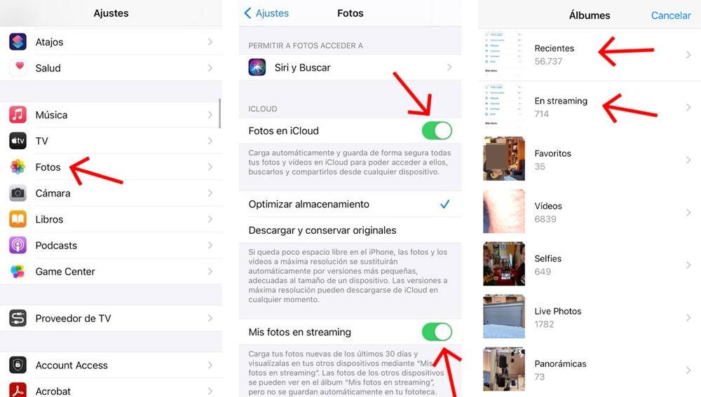 Sincronizar fotos y vídeos del iPhone con iCloud.