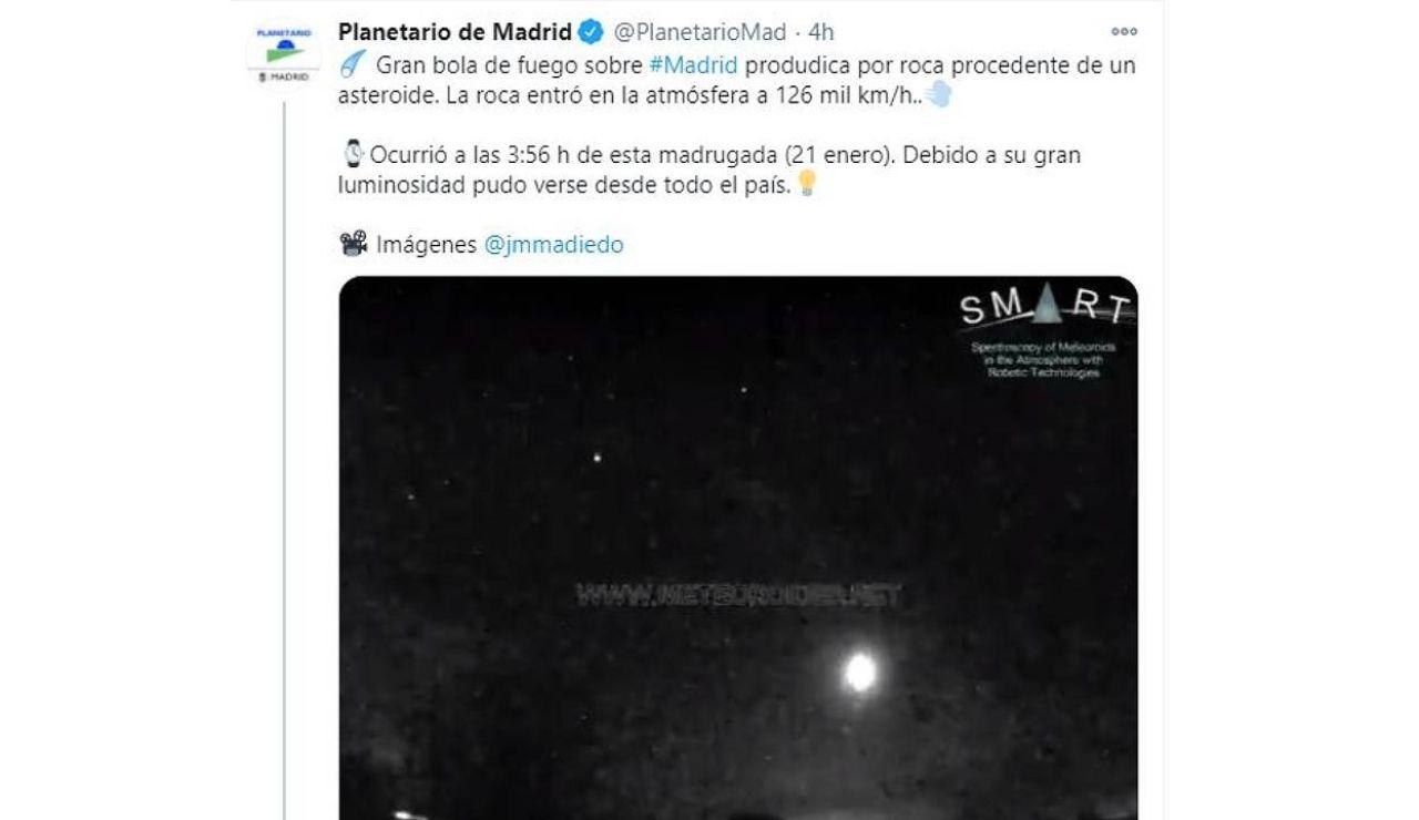 Meteorito sobrevuela Madrid