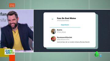 """Santi Alverú saca los colores a Dani Mateo con una embarazosa pregunta: """"¿Eres tú quien está detrás de tu cuenta de club de fans?"""""""