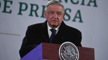 El presidente de México, Andrés Manuel López Obrador, durante un discurso en el Palacio Nacional