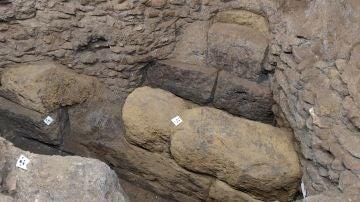 Las obras en la Escuela Espanola de Historia y Arqueologia en Roma sacan a la luz una muralla del s. IV a.C