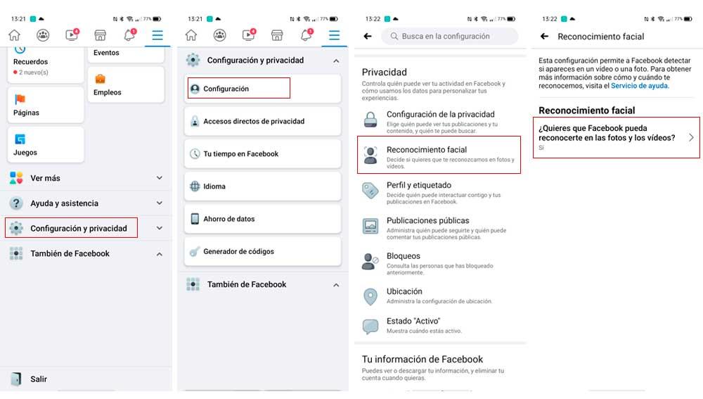 Desactivando el reconocimiento Facial en Facebook
