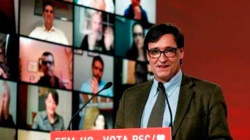 Salvador Illa, en un acto electoral del PSC en Cataluña.
