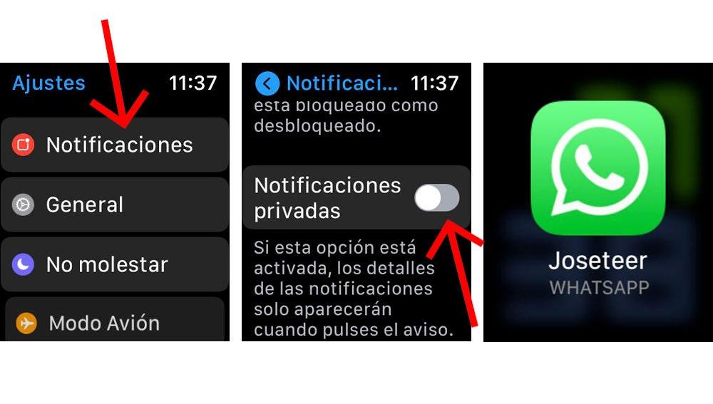 Convertir las notificaciones del Apple watch en privadas.