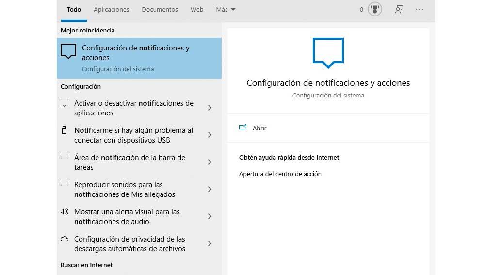 Notificaciones y acciones en Windows 10