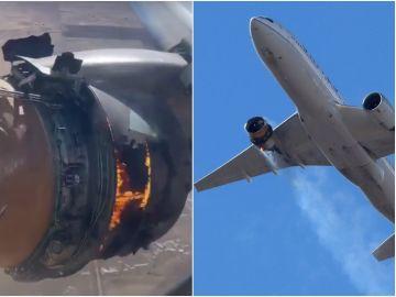 Imagen de uno de los motores de un avión en llamas en pleno vuelo