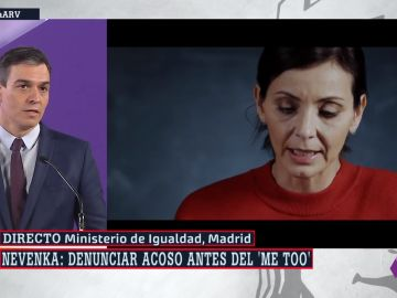 Pedro Sánchez, en su intervención durante los actos del 8M