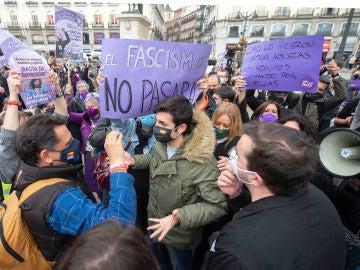 Momentos de tensión en una manifestación en Madrid convocada por el Sindicato de Estudiantes
