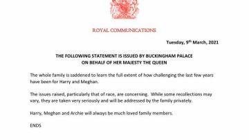 """La Casa Real británica se muestra """"preocupada"""" por el racismo que afirmó sufrir Meghan Markle y """"lamenta"""" sus momentos difíciles"""