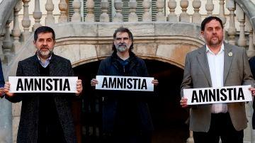 Los presos del procés Oriol Junqueras, Jordi Sànchez, y Jordi Cuixart