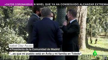 """Ayuso afea a los presidentes de las dos castillas el cierre perimetral: """"Me habéis roto la vida. Mi pueblo está en Ávila, y mi familia en Toledo"""""""