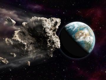 Representación en 3D de un asteroide acercándose a la Tierra