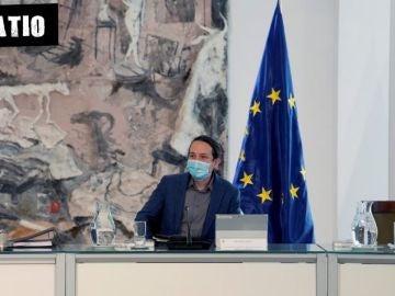 Pablo Iglesias, en el Consejo de Gobierno de este martes