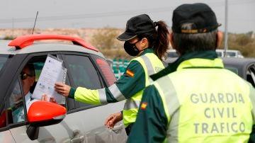 Agentes de la Guardia Civil requieren el desplazamiento de movilidad a un conductor