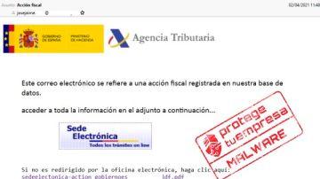 Captura de pantalla del correo electrónico que envía el 'malware' simulando ser la Agencia Tributaria