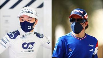 Yuki Tsunoda y Fernando Alonso