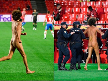 Olmo García salta desnudo a Los Cármenes durante el Granada-Manchester United