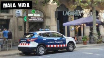 Un coche de los Mossos delante de Lamas Bolaño