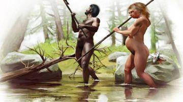 Una pareja de mujer neandertal y hombre Homo sapiens