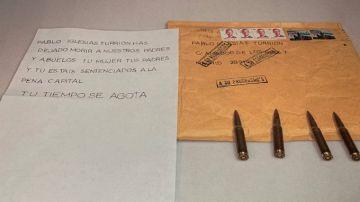 La carta de amenaza recibida por Pablo Iglesias el pasado jueves