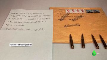 Imagen de la carta enviada a Iglesias con balas