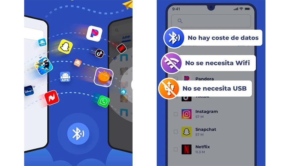 Puedes enviar cualquier app mediante Bluetooth