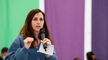 Ione Belarra, en un acto de campaña de Podemos.