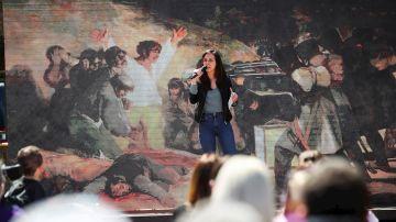 Ione Belarra en un acto del partido en Móstoles