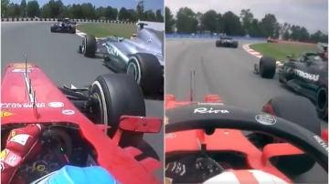 A la izquierda, Fernando Alonso adelantando a Lewis Hamilton en 2013. A la derecha Leclerc pasando a Valtteri Bottas el pasado fin de semana.