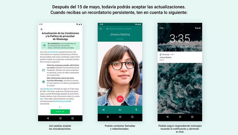 Los mensajes persistentes de WhatsApp