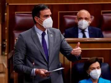 El presidente del Gobierno, Pedro Sánchez, durante una intervención en la sesión de control al Ejecutivo