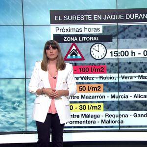 Lluvias 'express' de hasta 100 litros por metro cuadrado en Almería y la Región de Murcia