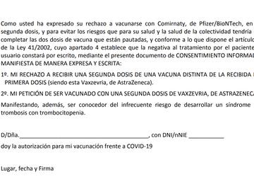Este es el consentimiento que debes firmar para vacunarte con la segunda dosis de AstraZeneca