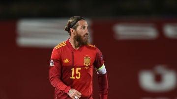 Sergio Ramos, en el partido de España frente a Suiza de la Liga de Naciones