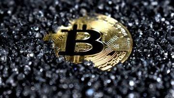Una pieza de Bitcoin.