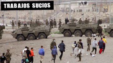 Carros de combate en la valla fronteriza de Ceuta