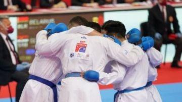 El equipo de kumite en el Campeonato de Europa celebrado en Porec