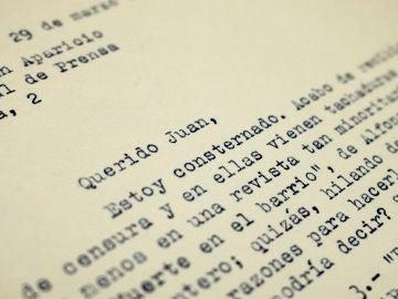 Carta enviada por Cela a Aparicio en la que se queja por las decisiones de la censura