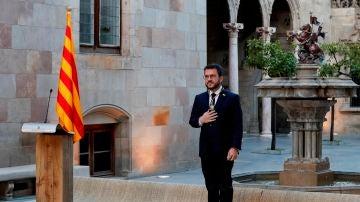 Pere Aragonès, durante la toma de posesión de su cargo como nuevo president de la Generalitat